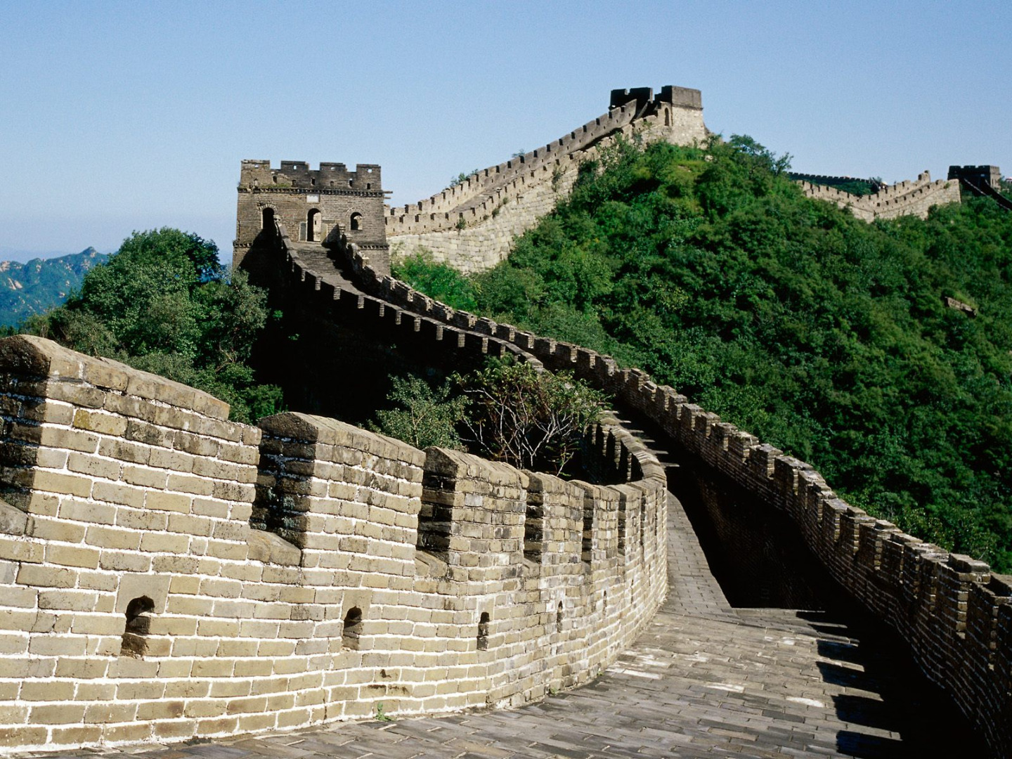 Picture from Wallerz.  The Great Wall of China is a series of fortifications made of stone, brick, tamped earth, wood, and other materials, generally built along an east-to-west line across the historical northern borders of China to protect the Chinese states and empires against the raids and invasions of the various nomadic groups of the Eurasian Steppe. Several walls were being built as early as the 7th century BC; these, later joined together and made bigger and stronger, are now collectively referred to as the Great Wall. Especially famous is the wall built 220–206 BC by Qin Shihuang, the first Emperor of China. Little of that wall remains. Since then, the Great Wall has on and off been rebuilt, maintained, and enhanced; the majority of the existing wall is from the Ming Dynasty.