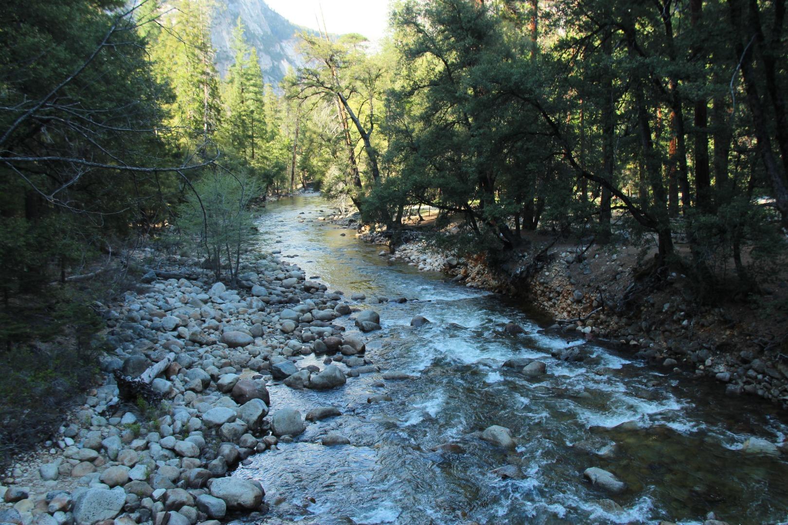 优胜美地的特色是:壮观的花岗岩峭壁,清澈的溪流和瀑布,巨大的红杉树森林。