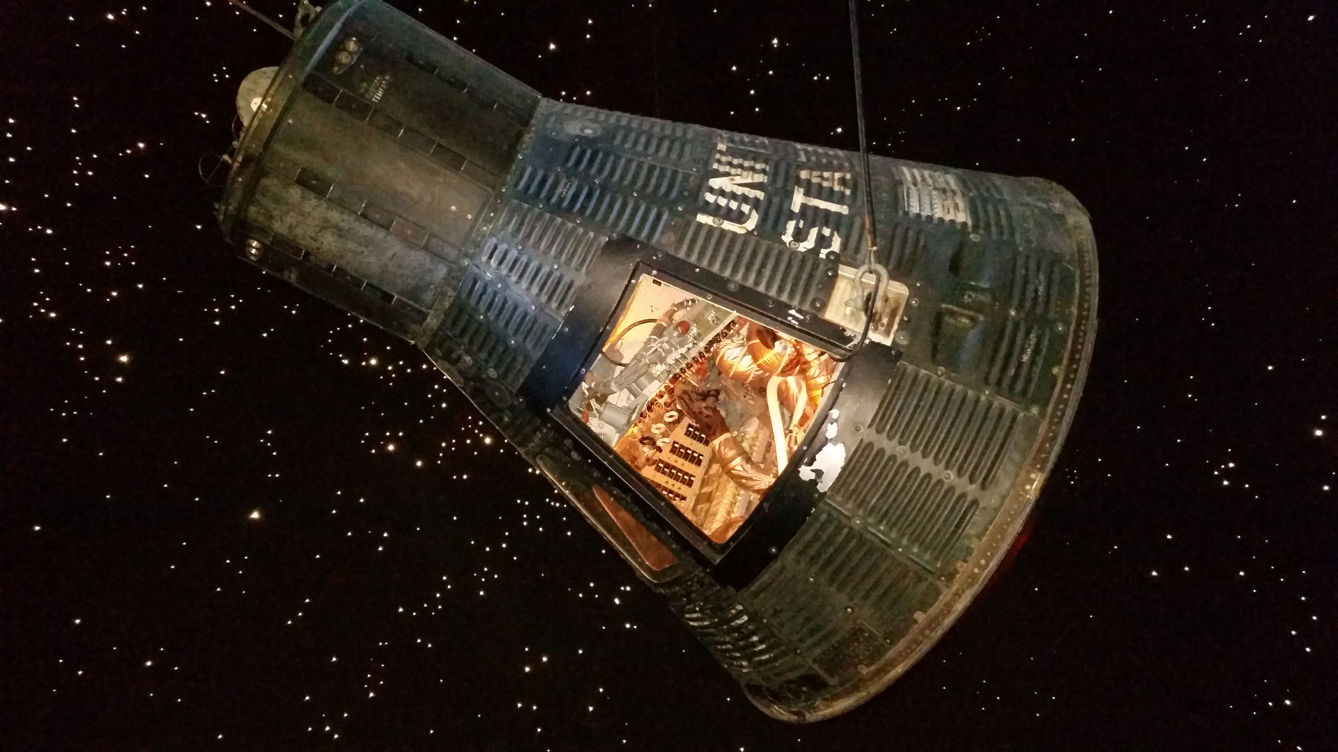 This is the actual Mercury capsule flown by Astronaut Gordon Cooper on May 15-16, 1963. In a triumphant conclusion to Project Mercury, Cooper traveled longer and faster than any American had up until that time.