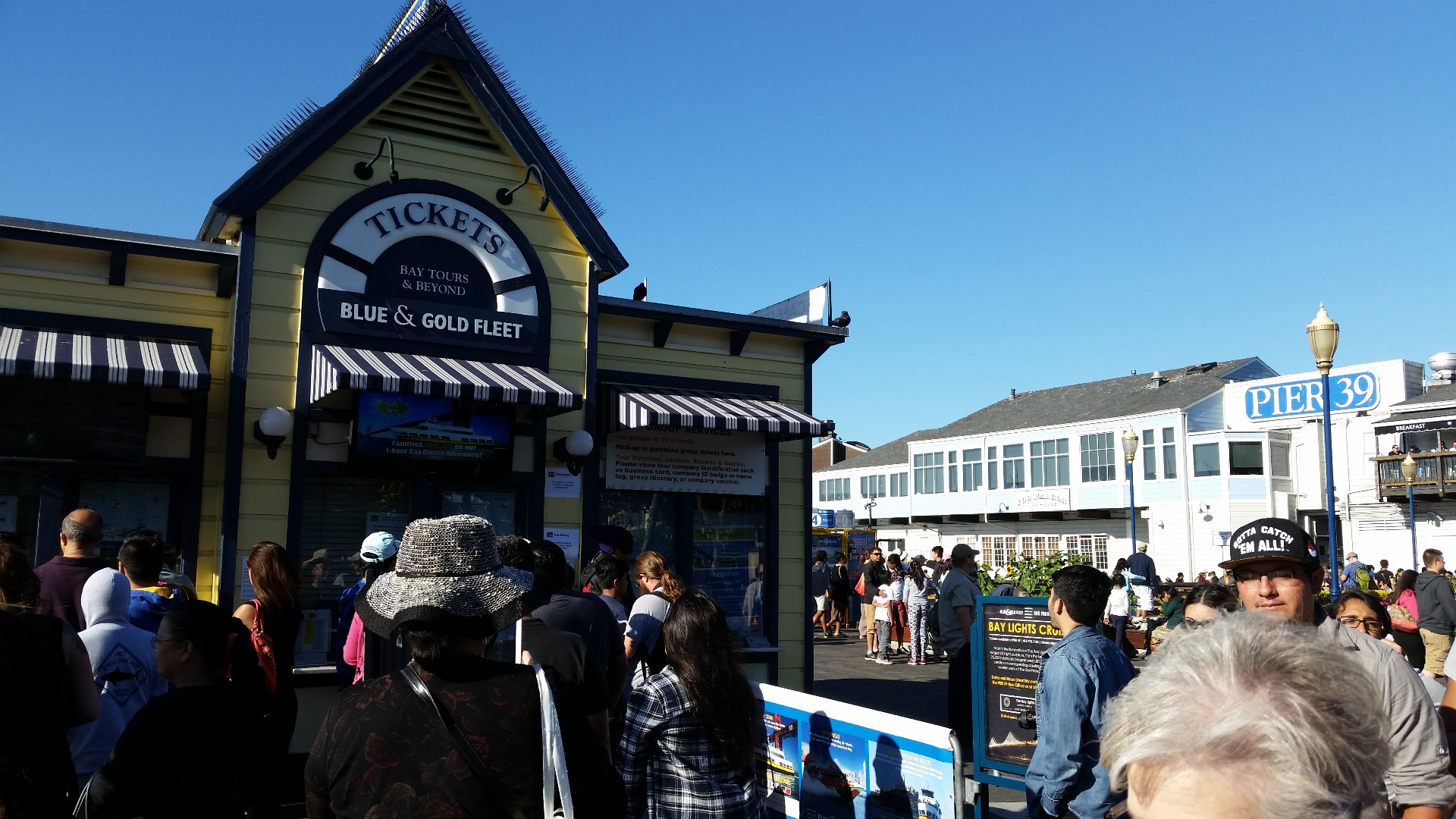 The ticket booth, near Pier 39 is close to the boarding area for the ferry, in the back of Pier 41. Just a 2 to 3 minutes walking distance.